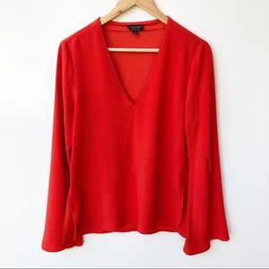 Topshop 10 Coral Red Long Fluted Sleeve Blouse Top